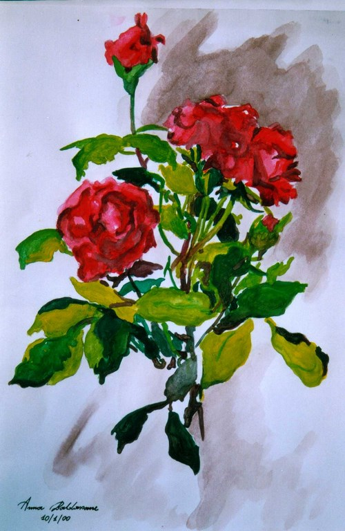 Rose rosse Acquerello 33x24 cm.