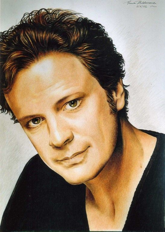 Colin Firth col Pastello su carta 33x48cm.