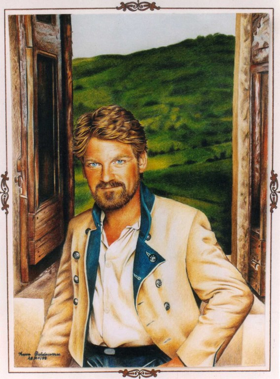 Kenneth Branagh col Pastello su carta 33x24cm.