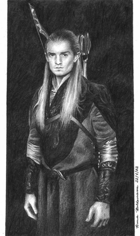Portrait of Legolas Matita su carta 10x18cm.